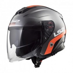 Casco LS2 INFINITY OF521 SMART TITANIO MATE NARANJA