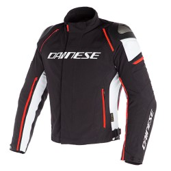 Chaqueta Dainese Racing 3 D-Dry Jacket Negro / Blanco/ Rojo Fluor
