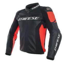 Chaqueta Piel Dainese Racing 3 Negro/ Negro/ Rojo Fluor