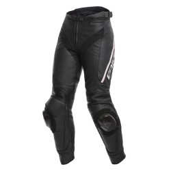 Pantalón Piel Mujer Dainese Delta 3 Negro/Negro/Blanco