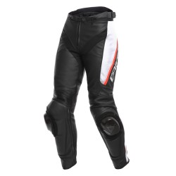 Pantalón Piel Mujer Dainese Delta 3 Negro/Blanco/ Rojo