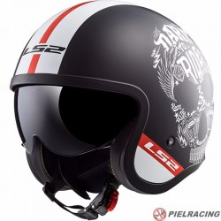 Casco LS2 SPITFIRE OF599 INKY Negro mate-Blanco